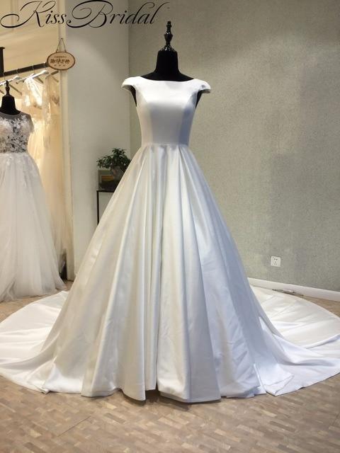 vestido de novia a la moda barato 2018 corsé abierto espalda satén