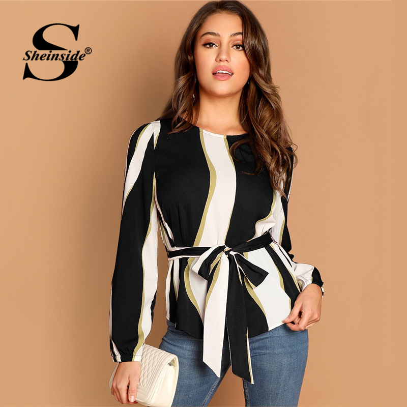 Sheinside Self Belted Striped   Blouse     Shirt   Women Long Sleeve Top Elegant Autumn   Shirts   2019 Fashion Womens Tops And   Blouses