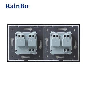 Image 5 - RainBo EU Power Wall Socket Standard Power Socket Glass Panel AC Wall Power smart outlet A28E8EW/B