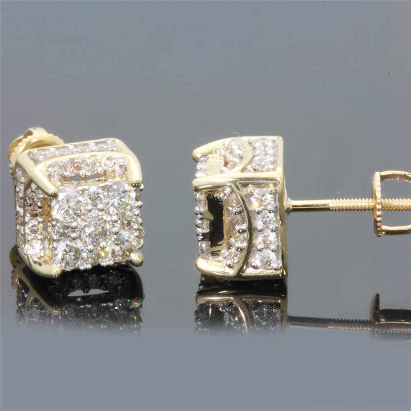 424c2e4c6 Detail Feedback Questions about BOAKO AAA Rhinestone Crystal Stud Earrings  Copper Gold Color Square Cubic Zircon Earring Women Men Fashion Hip Hop  Jewelry ...