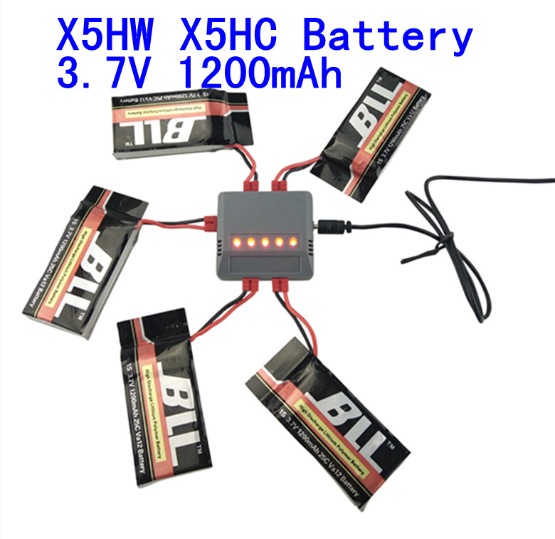 Syma x5hc x5hw battery 3.7V 1200mah Battery with upgrade 5in1 charger cable for syma x5hw x5hc rc drone Quadcopter Parts Set syma x5hc x5hw rc quadcopter body shell blue