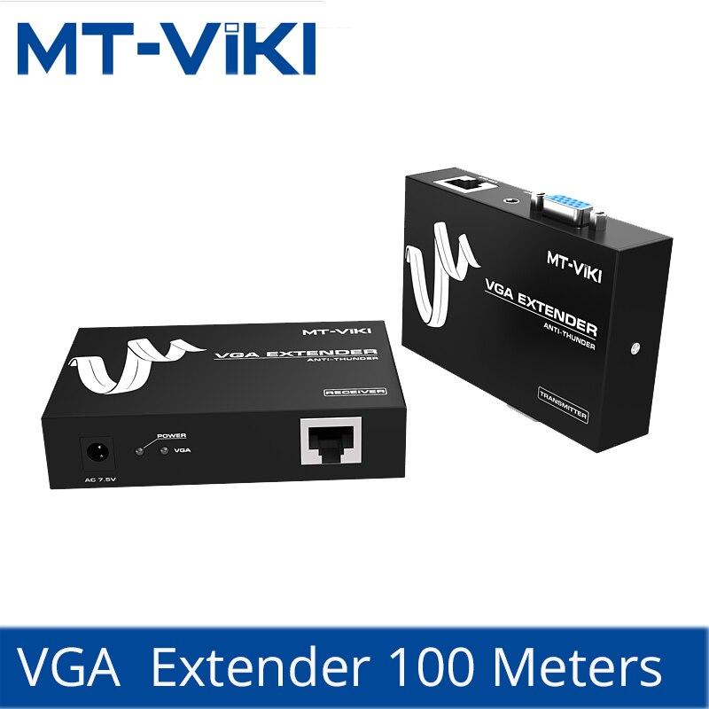 MT-Viki VGA Extender 100M VGA Video Audio Extender Repeater over UTP by 1 RJ45 CAT 5e / 6 LAN Cable MT-100T utp vga audio video extender black