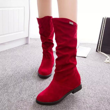 New Fashion Women Flock Mid-Calf Boots Hidden Heel Slip-On Women Boots Autumn/Winter Classic Women Shoes She ERA цены