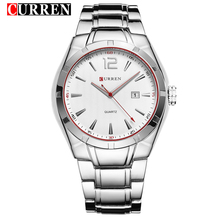 CURREN Red Hands Casual Silver Stainless Steel Date Display Quartz Watches for Men Bracelet Clasp Waterproof Sport