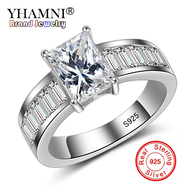 Yhamni Fashion 2ct Princess Cut Solitaire Engagement Rings Women Luxury Square Stone Cz Zircon 925 Sterling