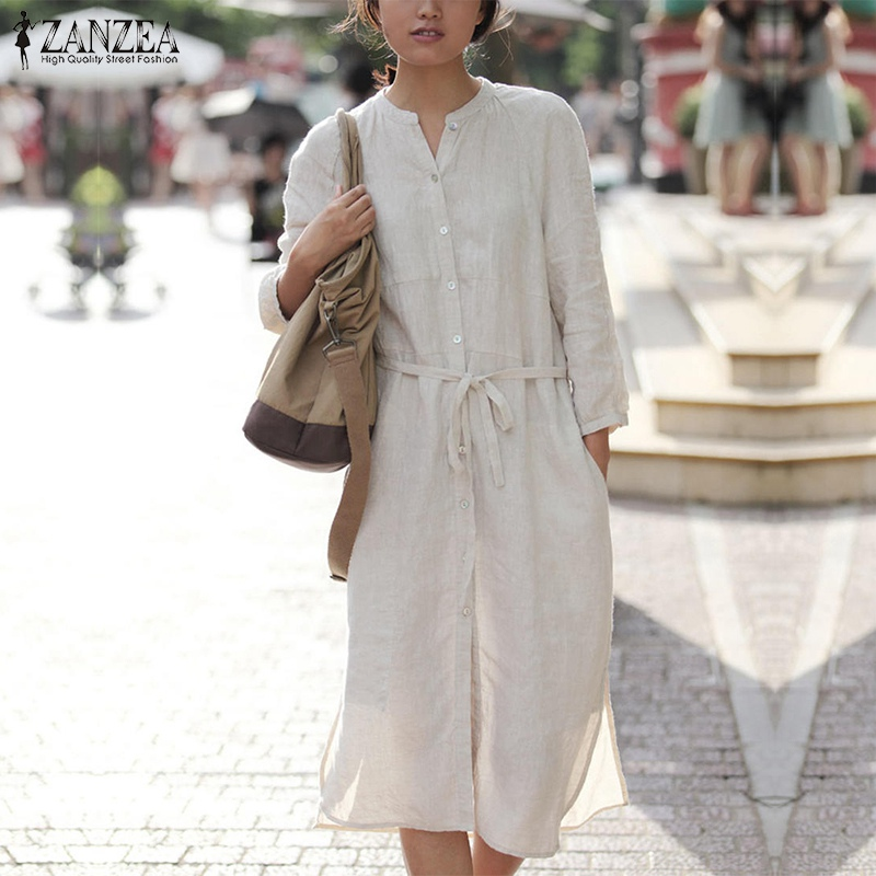 2018 ZANZEA Women Plus Size Dress Autumn Long Sleeve O Neck Vinage Cotton Dresses Sexy Casual Split Hem Solid Oversized Vestidos