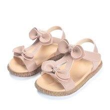 Детские сандалии лето для девочек кожаные сандалии принцессы с бантом для маленьких девочек модные детские сандалии на мягкой подошве размер 21-30