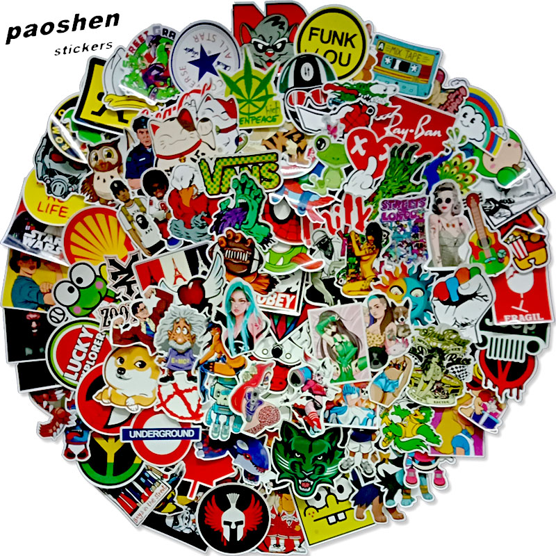 100 Pcs Random Surprisel Stickers Doodling Travel DIY Stickers On The Car Motorcycle Luggage Laptop Bike Scooter Bathroom Guitar