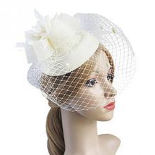 Очаровательная Элегантная Заколка-шляпка котелок перо Цветочная вуаль Свадебная вечеринка шляпа женские аксессуары для фотографии