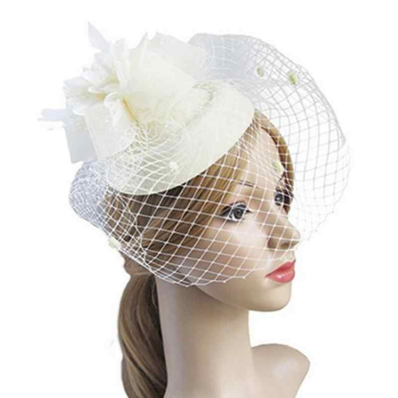 Fascinating Elegant Hair Clip Hat Bowler Feather Flower Veil Wedding Party Hat Women  photography Accessories