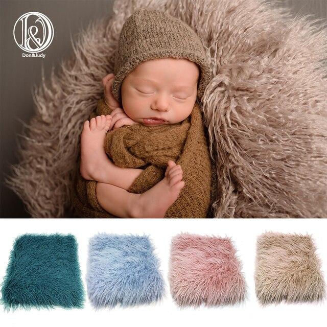 D & JแรกเกิดFauxขนสัตว์Propตะกร้าFiller Stuffer Photo Props Fotografiaการถ่ายภาพพื้นหลังฉากหลังผ้าห่มทารกยิง