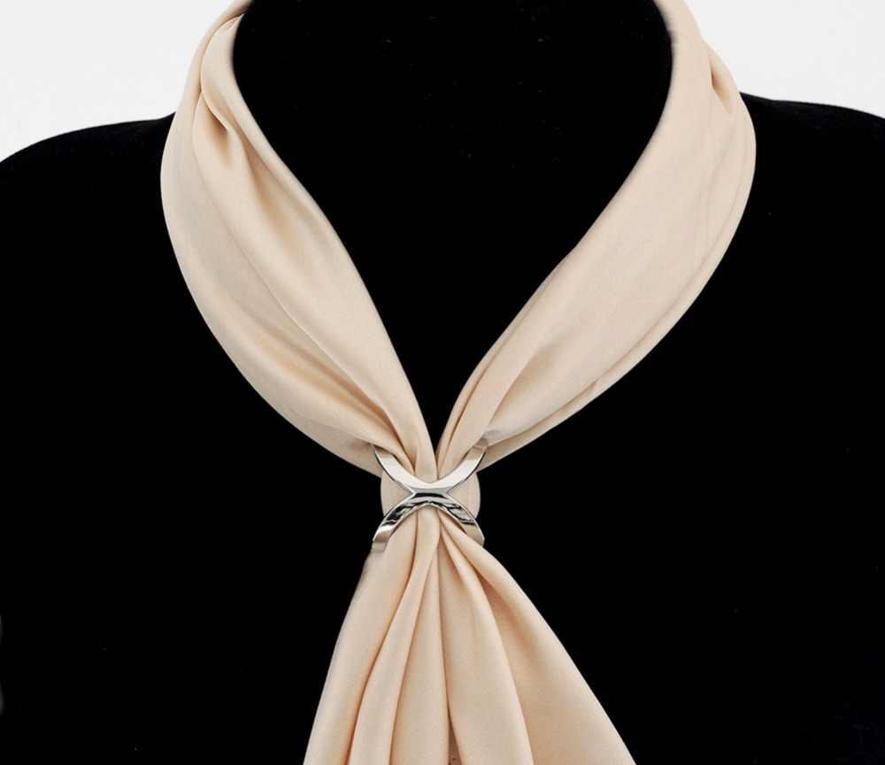 Jackstraw ทองแดงโลหะคุณภาพสูง cross ผ้าพันคอโบว์คลิปเปลี่ยนรูปร่าง mate ผ้าพันคอ buckle square shawls เครื่องประดับ
