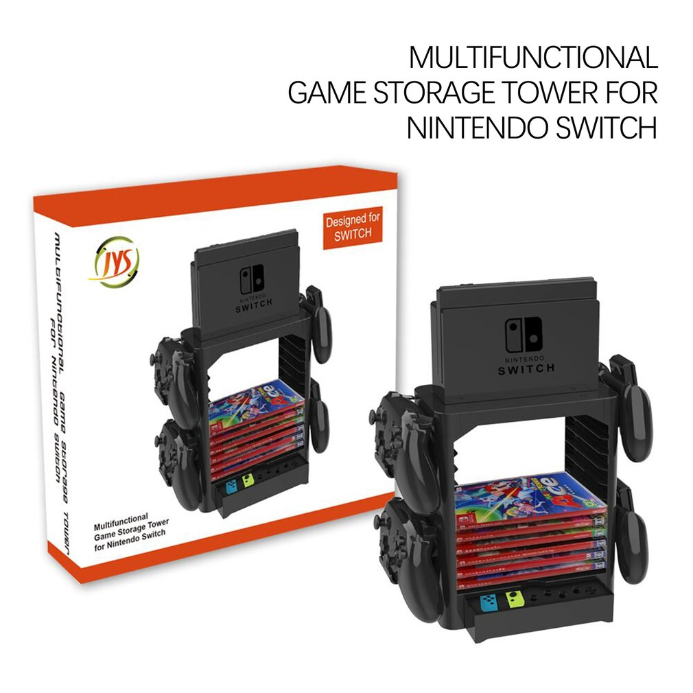 JYS Multifunctional Disc Storage Tower 10 games CD holder Stand Space Saving Bracket For Nintend Switch NS Console Joycon