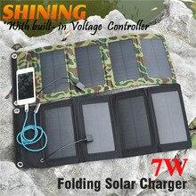 새로운! 서 리 낀 방수 7W 5V 휴대용 접는 모노 태양 전지 패널 충전기 USB 출력 컨트롤러 팩 아이폰 PSP MP4