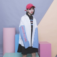 Street vogue temporary patchwork colour block letter print sleeves bf single breasted free polo shirt