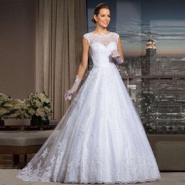 vestidos de novia vintage nupcial manga del casquillo del cordón del