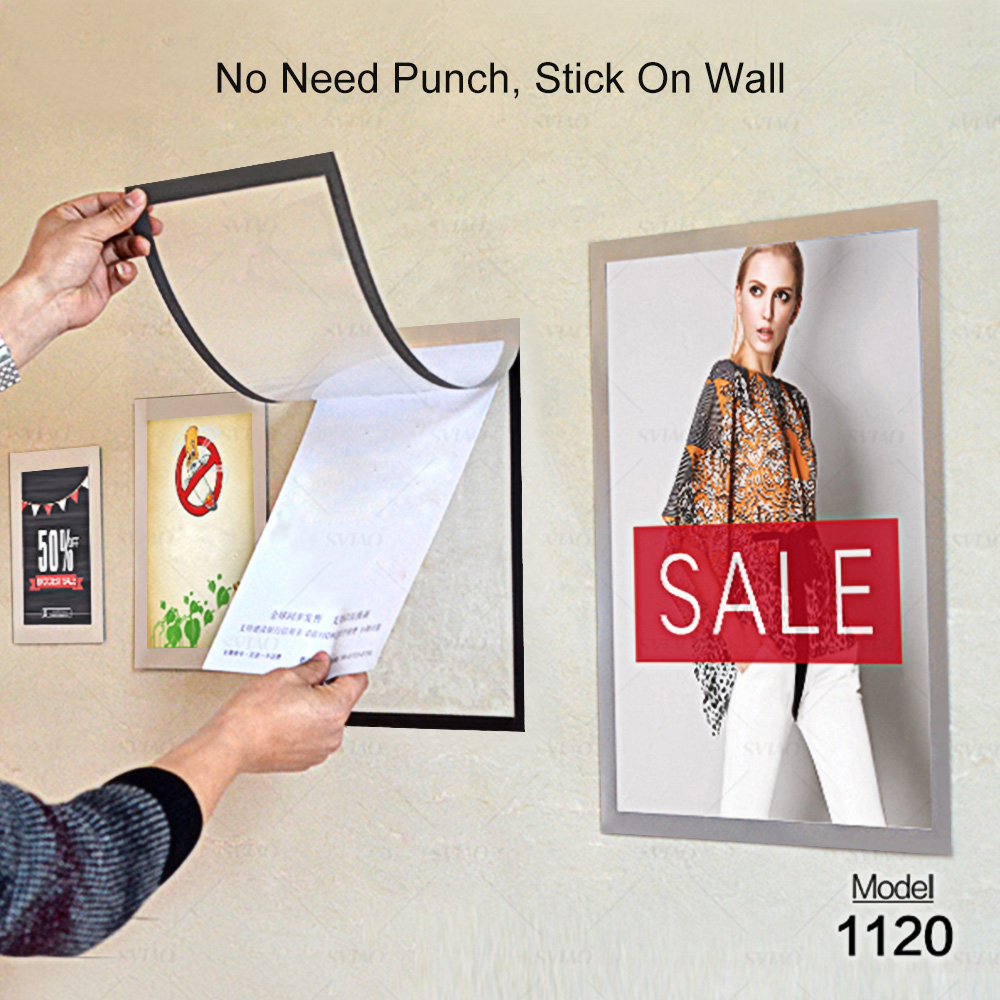 Sviao Display-Board Picture-Frame Poster Wall-Mounted PVC Adhesive A4-Size Durable