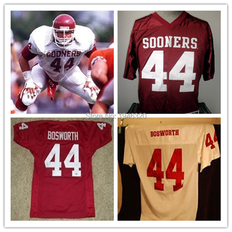 Custom Men's 44 Brian Bosworth Jersey Oklahoma Sooners College The Boz Football Jersey Red White XS-5XL Name Number Embroidery