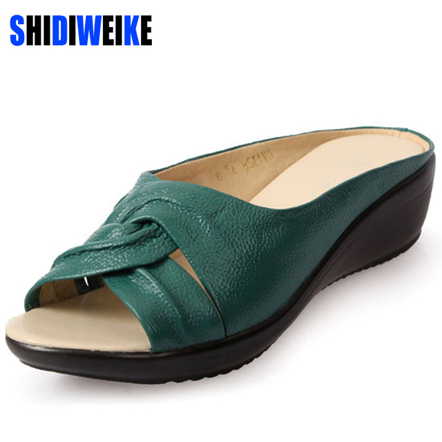 2017 summer slippers women Wedges sandals shoes Leisure slippers slip-on round toe genuine leather sandals flip flops B756