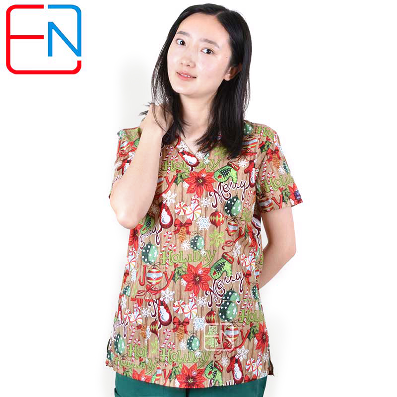Hennar Women Scrub Tops Clothes Medical Uniforms Scrub Tops Medical Scrub Print Short Sleeve Christmas Design