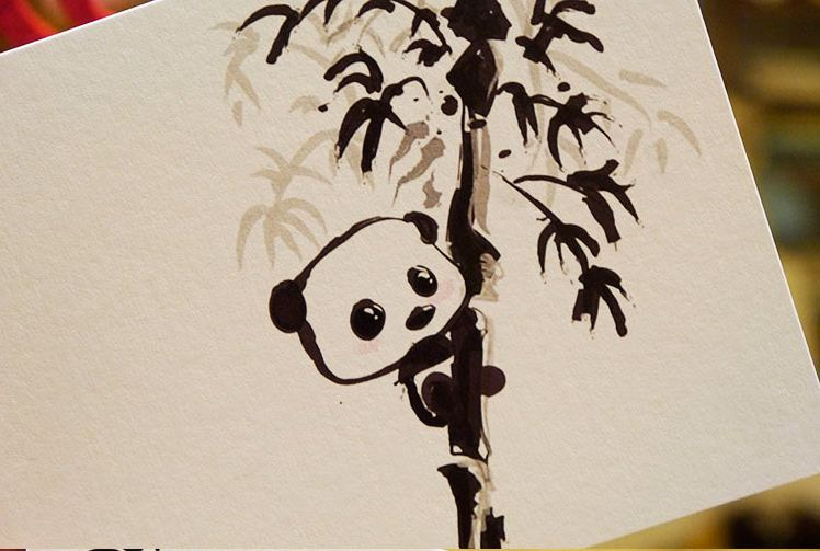 aliexpress  buy pcs/lot ink panda blank greeting cards, Birthday card