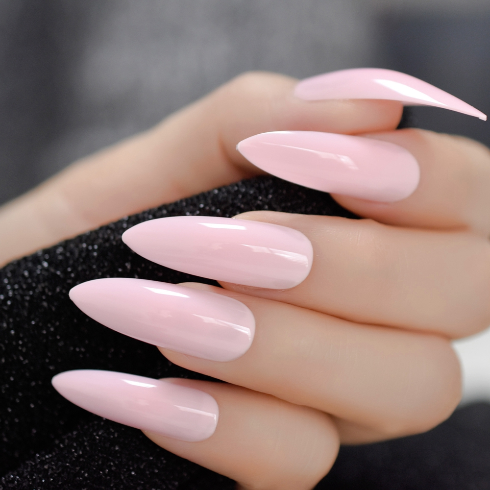 Extra Long Stiletto Nails 24Pcs Pink Artificial Sharp Nail ...