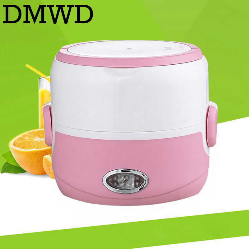 DMWD Mini Panela de Arroz Revestimento de Aço Inoxidável Caixa de Almoço de Aquecimento Elétrico Aquecedor Aquecedor de Alimentos Recipiente Ovo Steamer 1.3L 110 V /220 V