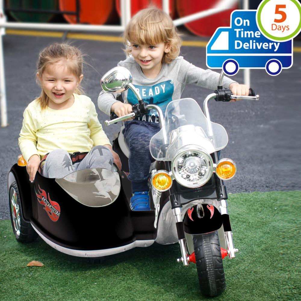 Uenjoy 2 sièges enfants moto 12V vélo électrique pour enfants avec 2 vitesses, Suspension à ressort, lumières colorées et musique, noir