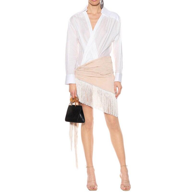 Gland Automne Col Longues Casual Patchwork 2019 Midi Sexy V Mode Robe Oxant Chemise Dress Féminine Manches White À Irrégulière Robes Nouveau dZIwnq