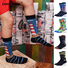 COSPLACOOL Colorful Painting Novelty Funny Socks Casual Cotton Happy Socks Men Dress Wedding Socks Clacetines