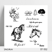 ZhuoAng Running Horse / Pine Trees Clear Stamps For DIY Scrapbooking/Card Making/Album Decorative Silicon Stamp Crafts