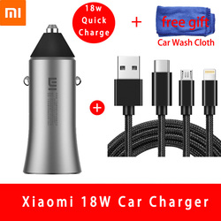 Original Xiao mi 18 W Carga Rápida Carregador de Carro Caixa De Metal Dual USB Para Celular iPhone Samsung Huawei mi Xiao mi Tablet Carga Rápida
