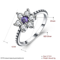 HERMOSA Luxury 925 Sterling Silver Ring Hot Sale Clear Cubic Zirconia Flower Ring Hot Sale Party