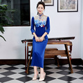 Autumn Winter New Chinese Traditional Dress Velour Blue Vintage Cheongsam Stand Collar Three Quarter Long Dresses Evening Dress