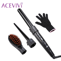 ACEVIVI LED Display 5 In 1 Multifunction Interchangeable Black Curler Kit Hair Styler Curls Tool Curling