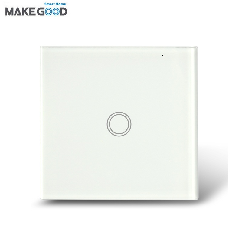 MakeGood UK Standard Wall Switch 1 Gang 1 Way Crystal Glass Panel Touch Switch AC 110-250V/1000W for Light + LED Indicator uk standard black crystal glass panel 2 gang 2 way wall switch intelligent touch screen light touch switch led ac 220v