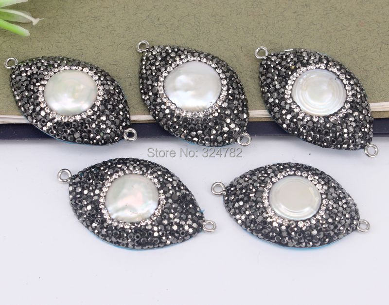 5pcs Fashion Pearl Connector Beads With Paved Rhinestone Beads b1a1a84c7b1c