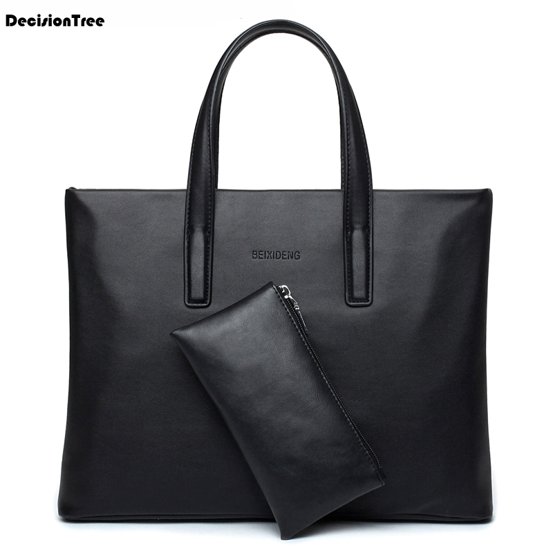 Fashion Mens Tote Bag High Quality Men's Handbag Brand Luxury Leather Briefcase Bag Casual Male Bussiness Messenger Bag