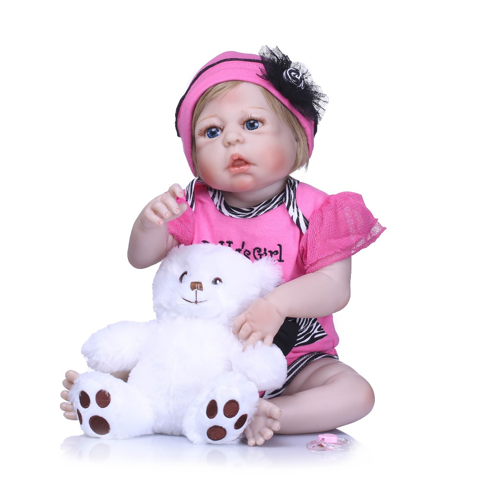 NPKCOLLECTION Full Body Vinyl Silicone Reborn Baby Doll Toy 22inch Newborn Girl Princess Toddler Bebe Doll Child Bathe Toy Gift