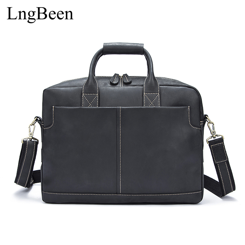 NEW Genuine Leather Black Men Briefcase Laptop Business Bag Cowhide Men's Messenger Bags Luxury Lawyer Handbags LB8919 купить