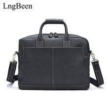 NEW Genuine Leather Black Men Briefcase Laptop Business Bag Cowhide Men's Messenger Bags Luxury Lawyer Handbags LB8919