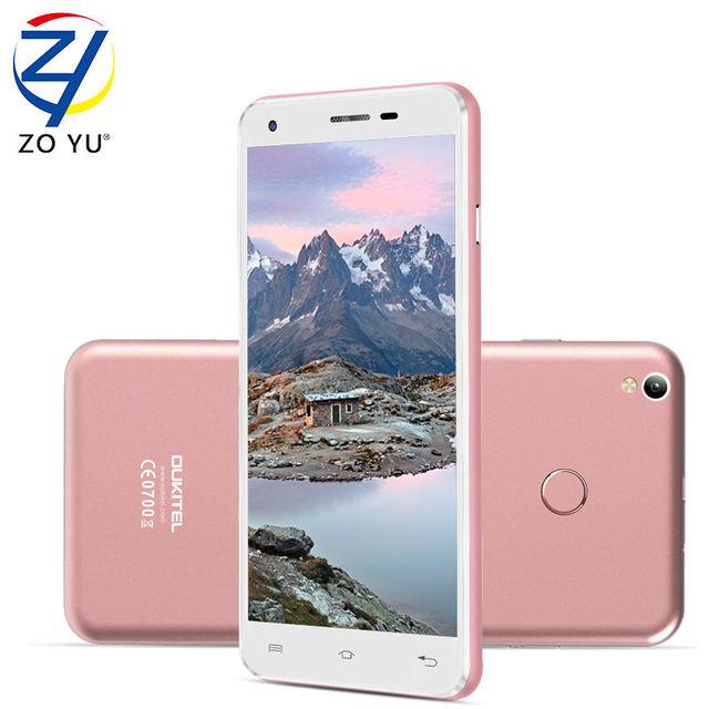Oukitel u7plus smartphone 4g android 6.0 malvavisco mtk6737 5.5hd identificación de la huella digital del teléfono móvil 2 gb + 16 gb 13mp 2500 mah teléfono móvil