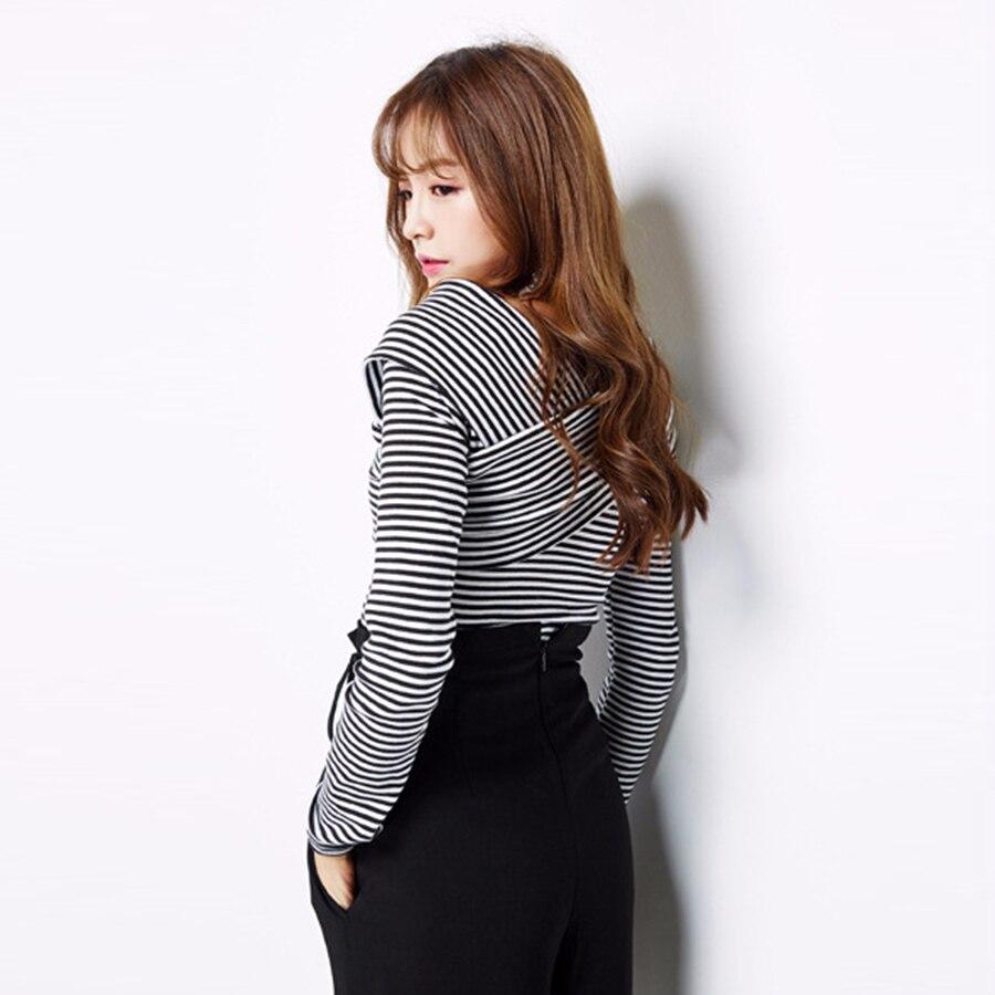 Long Sleeve Cross Front Casual Striped T-Shirt Women V Neck Sexy Top Black White Stripes Roupas Feminina Korean Clothing 80G0087