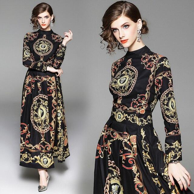 2019 Spring New European Women's Long Sleeves Long Evening Party Print Dress Vintage Womens Casual Wear Vestidos Robe Femme