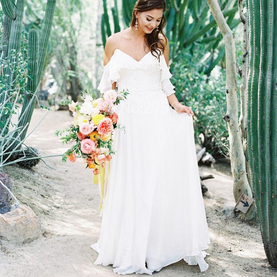 2061cfc47d 2019 Vestido De Noiva White Beach Wedding Dresses Spaghetti Straps  Sweetheart Chiffon Floor Length Boho Bridal