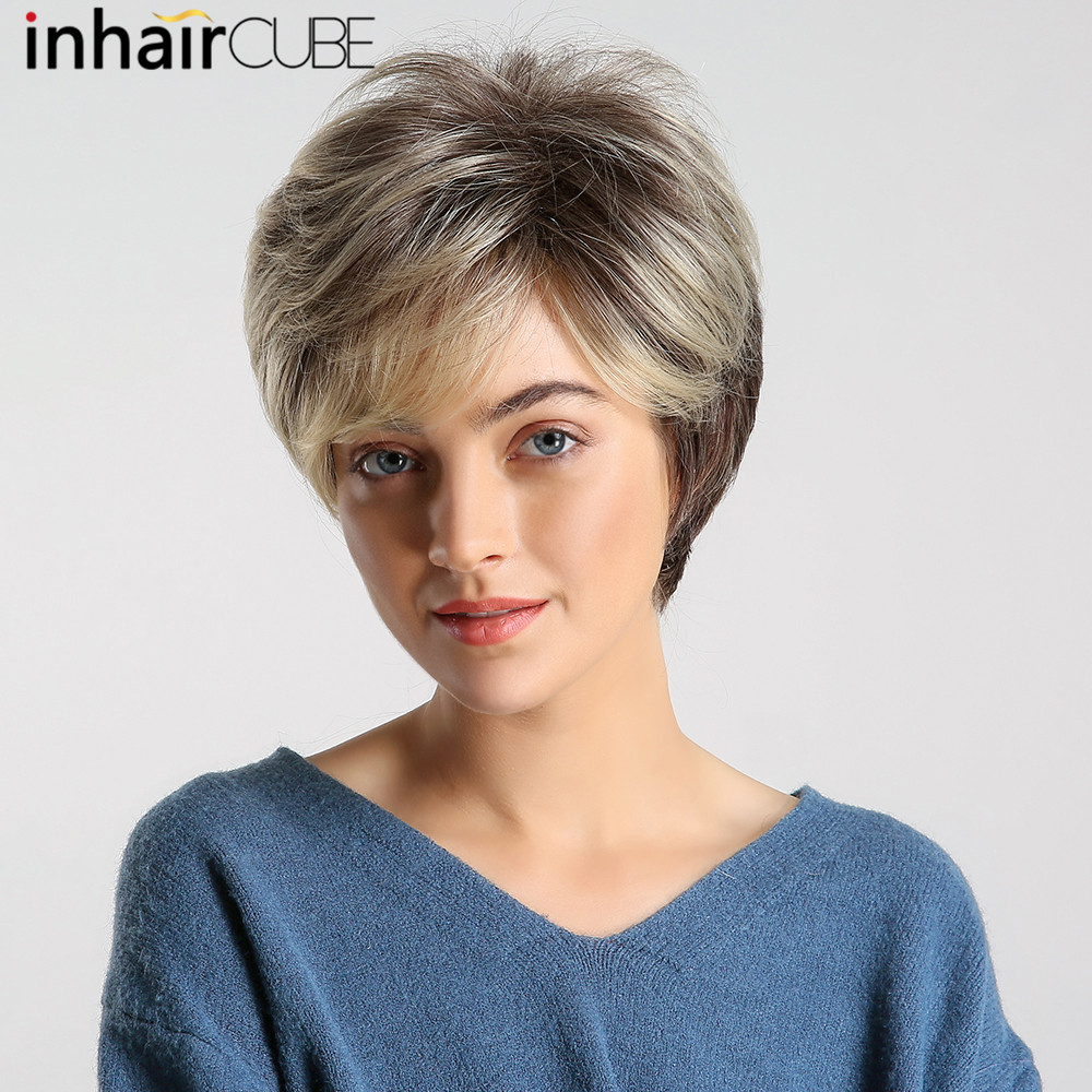 Inhaircube Shoulder Synthetic Inclined Bangs Women Fluffy Natural Wig Light Brown Short Straight Hair Bob Glueless Party Wig