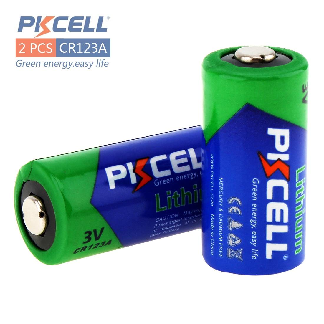 PKCELL 2Pcs 2 3A CR123A CR123 CR 123 CR17335 123A CR17345 CR17335 16340 3V Lithium Battery