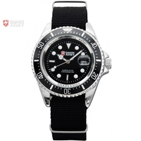 SHARK ARMY Men S Date Calendar Silver Stainless Steel Case Black Nylon Running Quartz Wrap Military