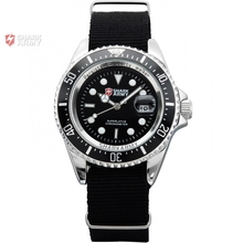 SHARK ARMY Men's Date Calendar Silver Stainless Steel Case Black Nylon Running Quartz Wrap Military Sports Wrist Watch /SAW013