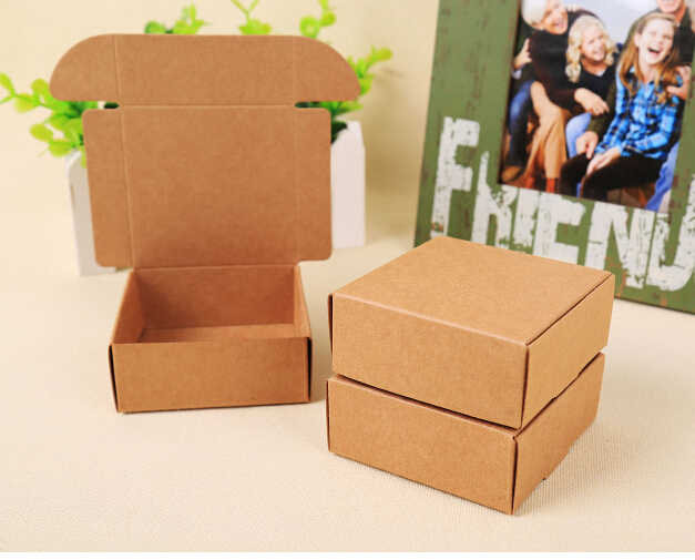 100pcs Cheap Kraft gift packaging cardboard paper box,small natural handmade soap kraft craft box,kraft carton paper box